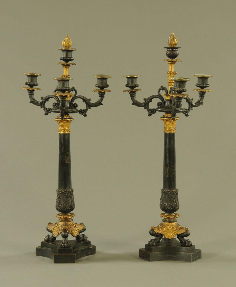 A pair of 19th century bronze three branch candelabra, in the style of Maximilian de la Fontaine.