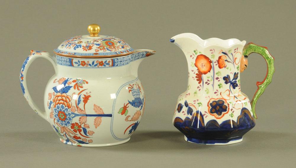 A 19th century Spode china Imari patterned lidded jug,