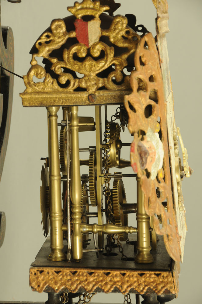 A 19th century Dutch alarm wall clock, with weight driven movement, - Image 2 of 2