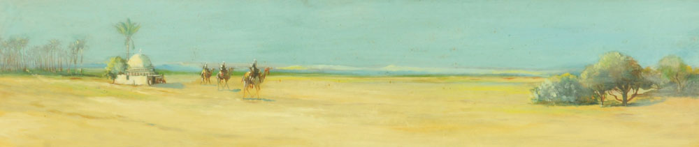 Oil painting on board of a desert scene with camels, 19 cm x 90 cm, framed.