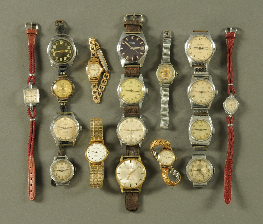A collection of eighteen vintage wristwatches, including Sekonda, Mimo, Ingersol, Stirling etc.