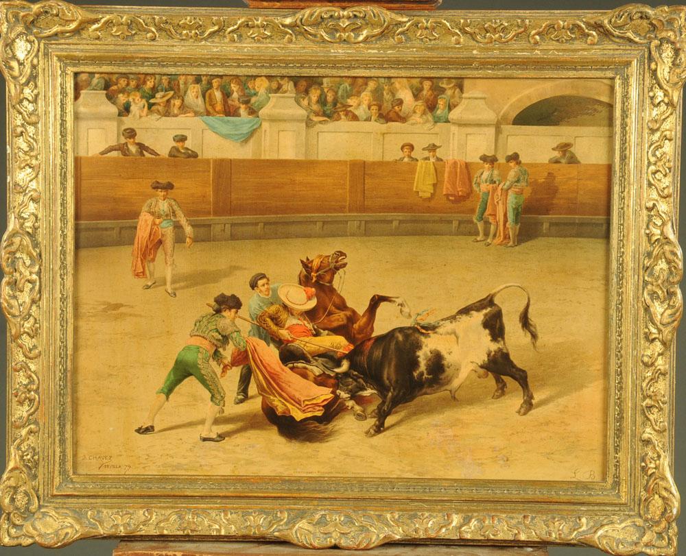 After J Chavez, an oleograph of a bullfight, 47 cm x 62 cm, framed. - Image 2 of 6