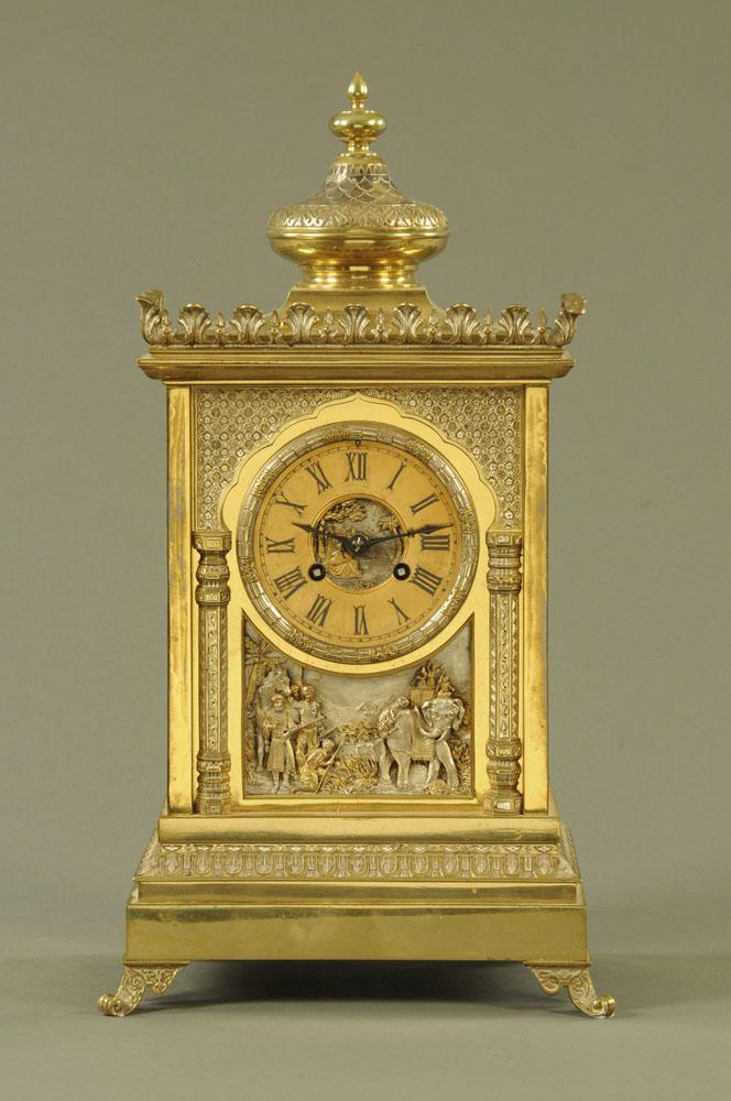 A 19th century gilt brass cased bracket clock,