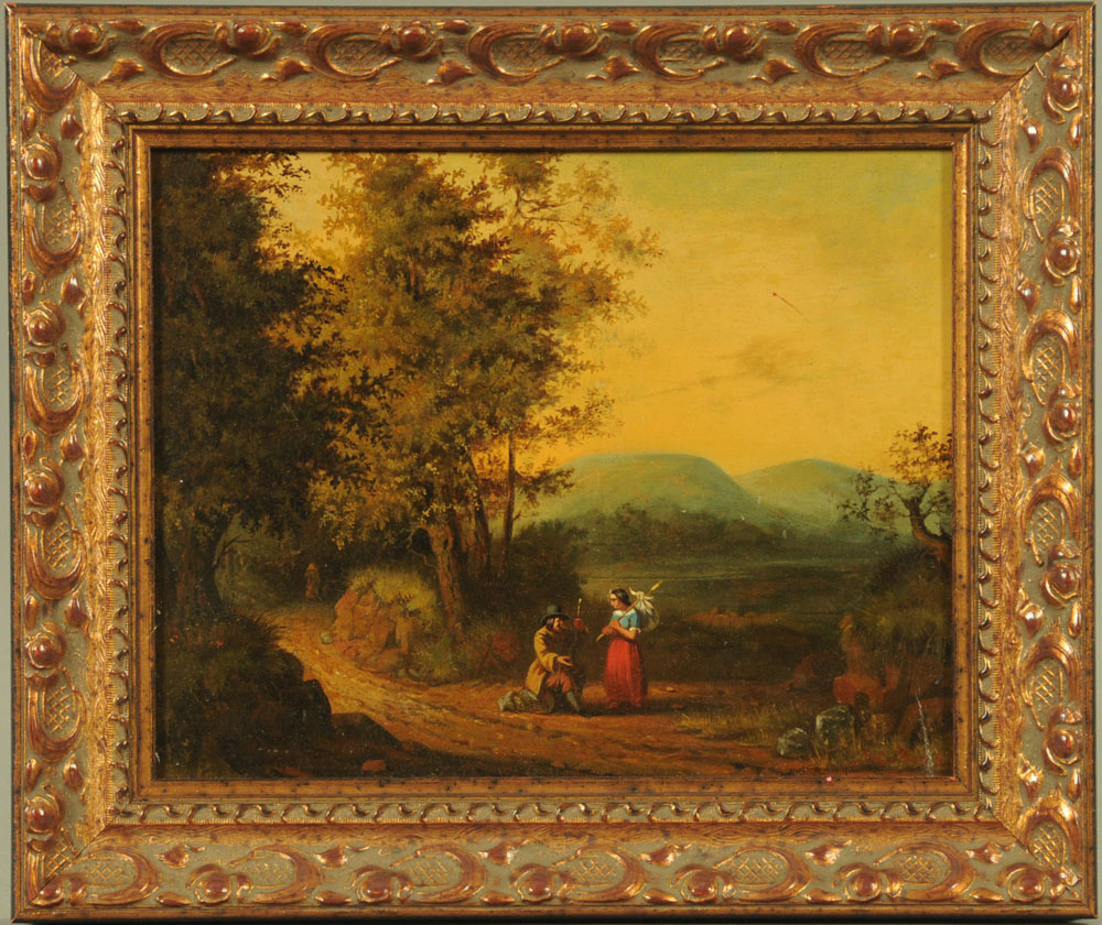 A late 18th century oil on panel, figures in landscape. 18 cm x 23 cm, framed. - Image 2 of 2