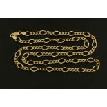 A 9 ct gold chain necklace, length 62 cm, 20.4 grams (see illustration).