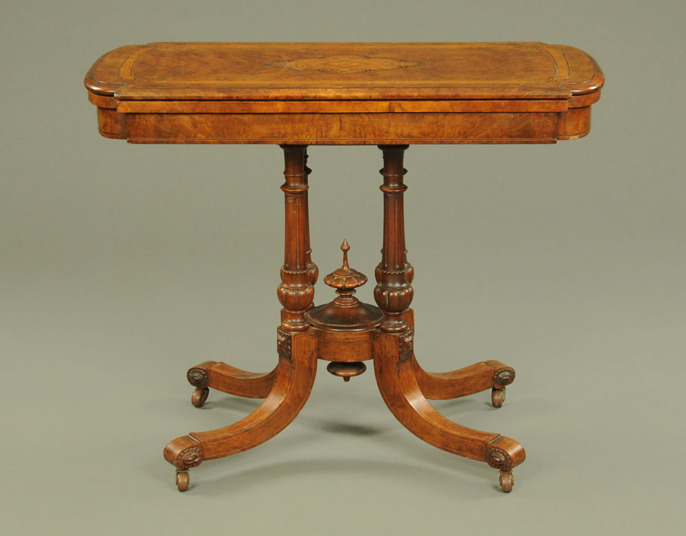 A Victorian burr walnut inlaid turnover top card table,