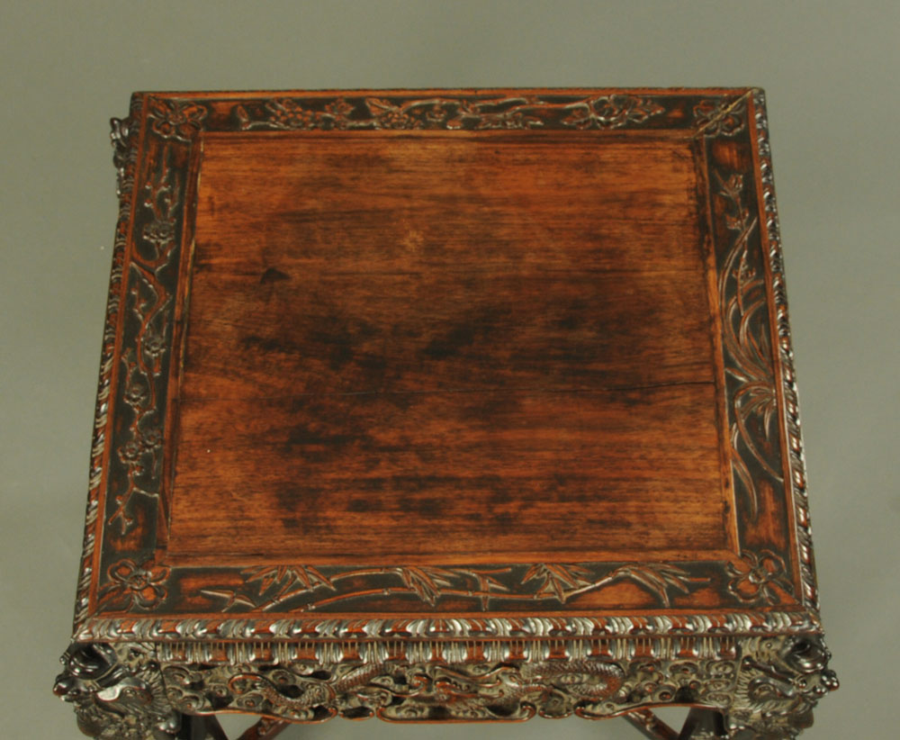 A 19th century Chinese hardwood large jardiniere stand or table, - Image 2 of 5