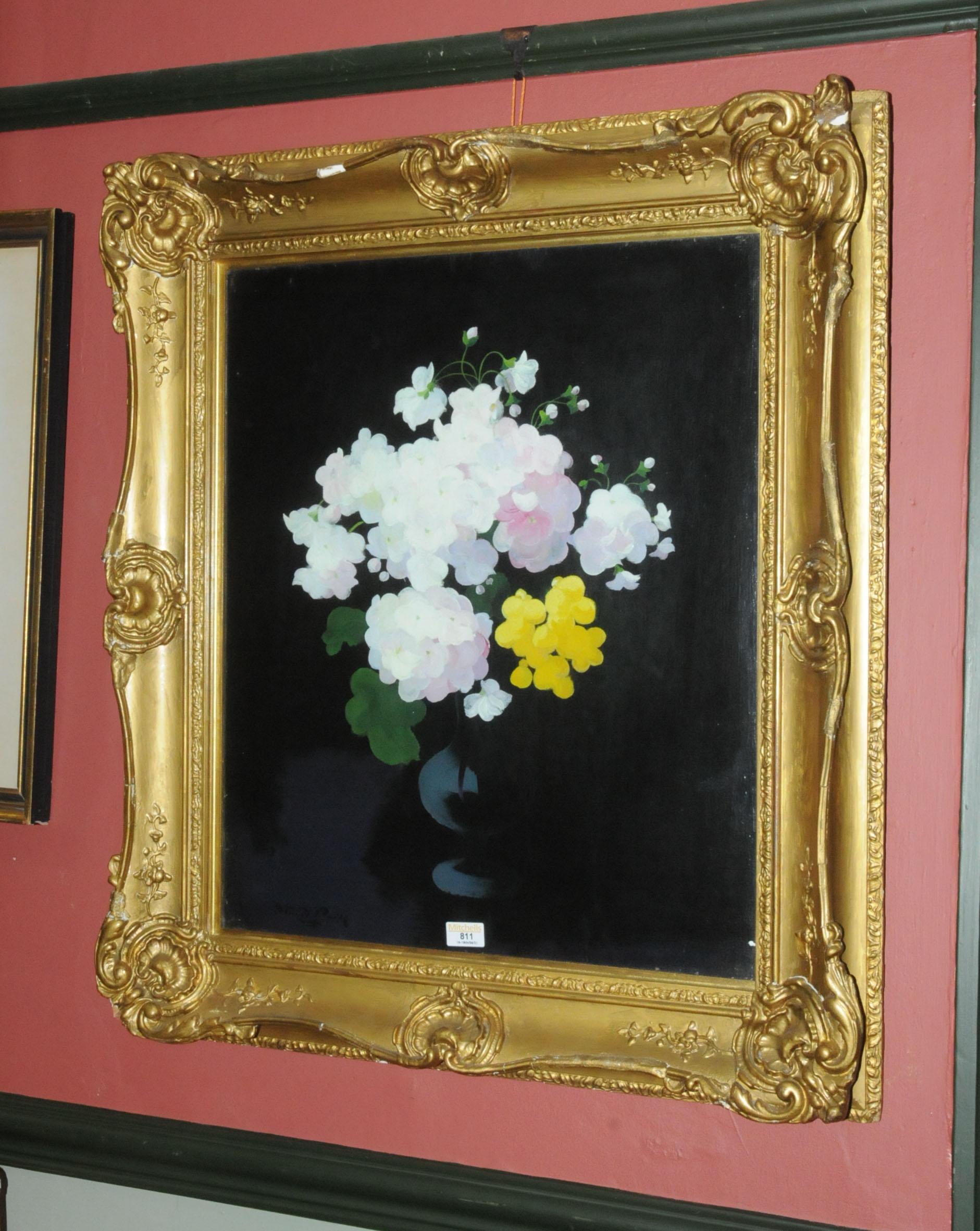James Stuart Park (1862-1933) oil on board, still life flowers in vase, 60 cm x 49 cm, framed, - Image 3 of 7