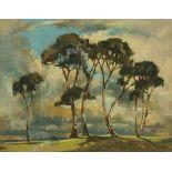 Frederick C Davison (1902-1989 RBA), a pastel, trees in landscape.