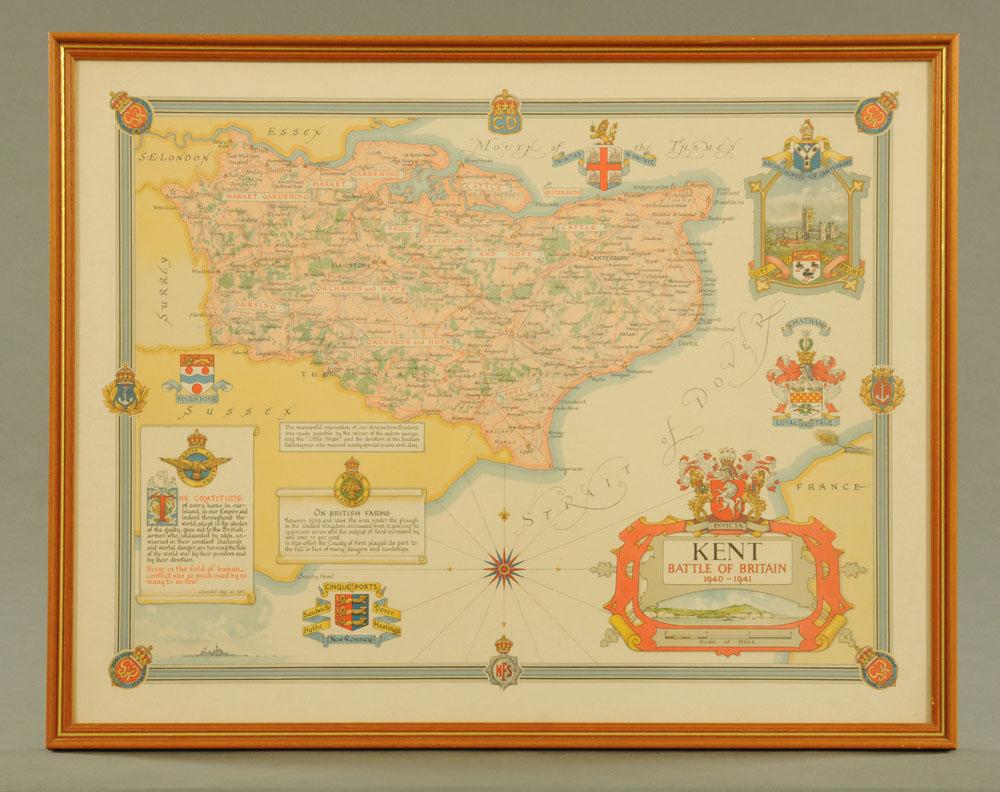 An Ernest Clegg 1940's map of the Battle of Britain, Kent. 44 cm x 57 cm, framed.