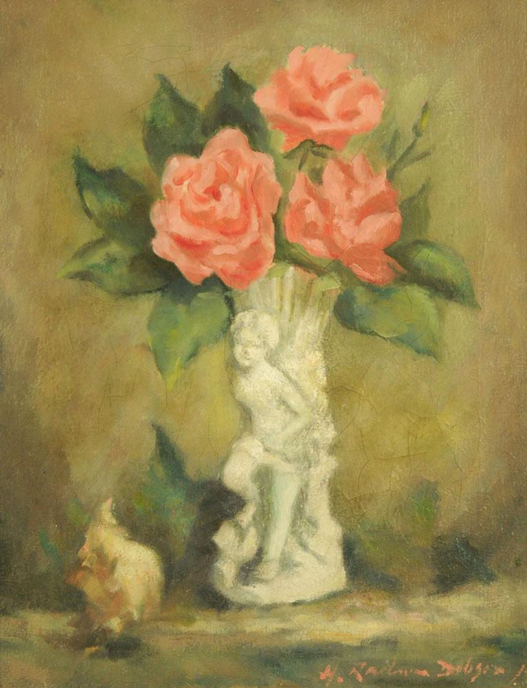 Henry Raeburn Dobson, oil on canvas, roses. 44 cm x 34 cm, framed, signed.