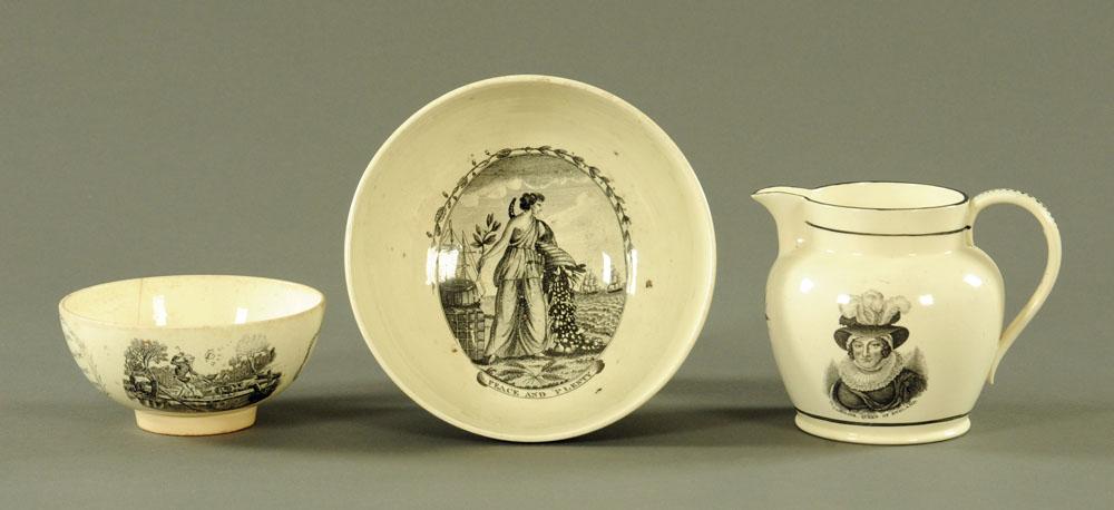 An early 19th century creamware jug,