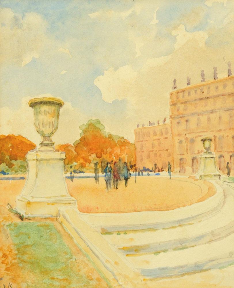 "John Dalzell Kenworthy (1859-1954), a watercolour ""Versailles"". 18 cm x 14.5 cm."