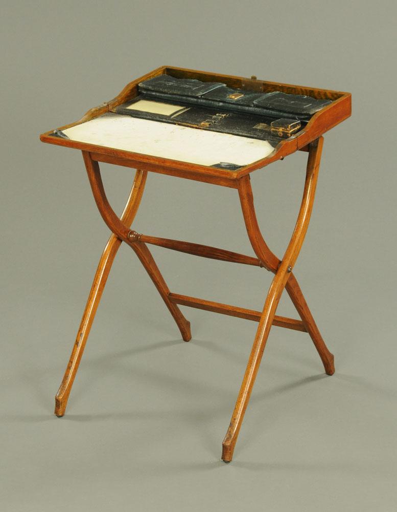 A late Victorian oak campaign writing desk. Width 55 cm. - Image 2 of 2