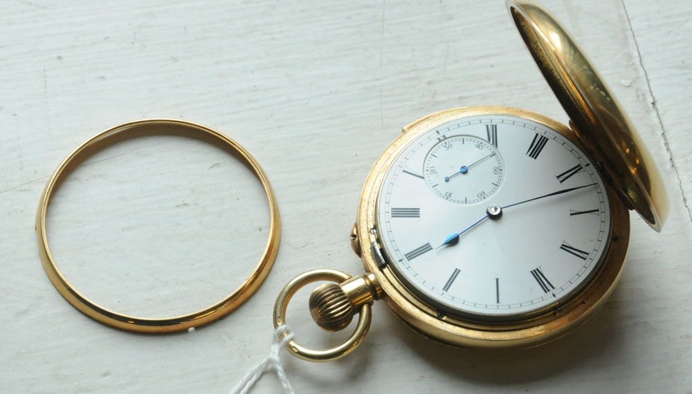 An early 20th century Swiss 18 ct gold keyless lever full hunting cased minute repeat chronograph - Image 3 of 3