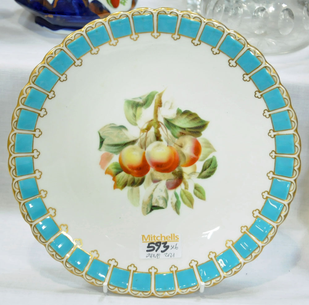 A collection of six 19th century hand painted cabinet plates, one bearing lozenge registration mark, - Image 11 of 15