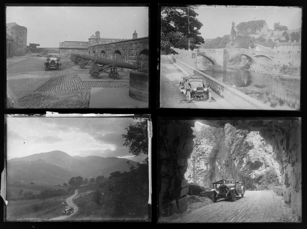 Early 20th century photographic glass half and full plates, depicting vintage cars on tour, - Image 6 of 10