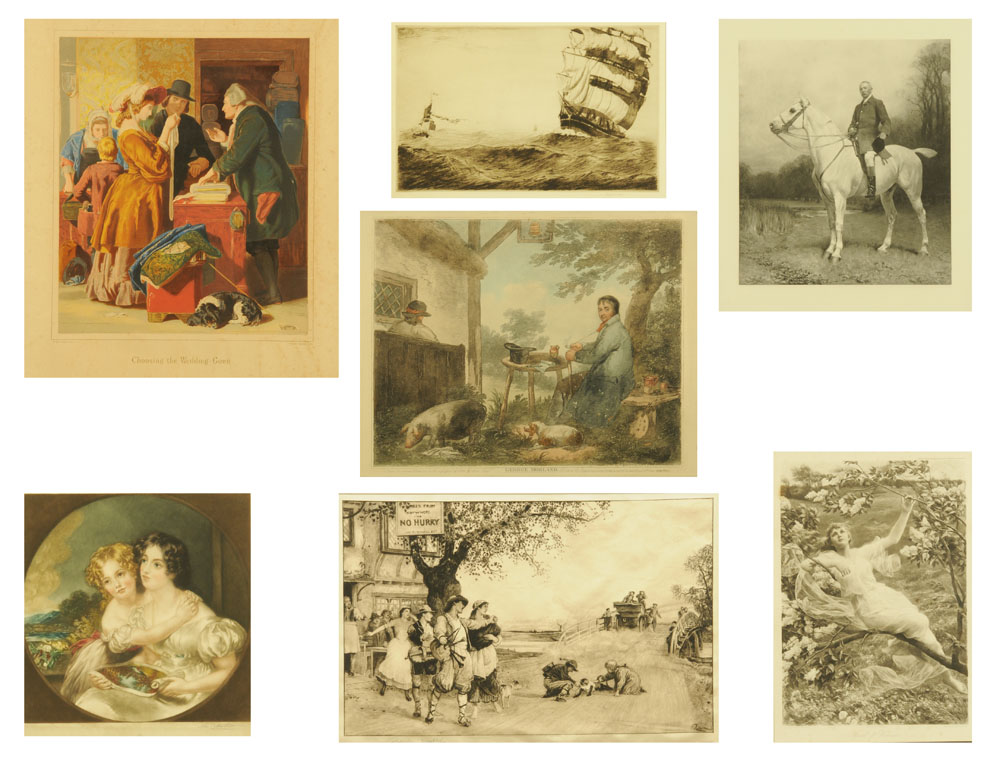 A collection of seven mounted antiquarian prints, including George Morland, John Charlton,