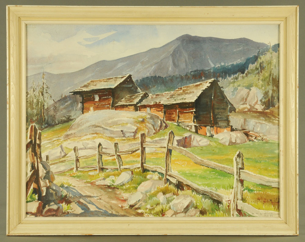 Geraldine de Gautiere Acomb (Anglo American), watercolour, mountain landscape. - Image 2 of 2