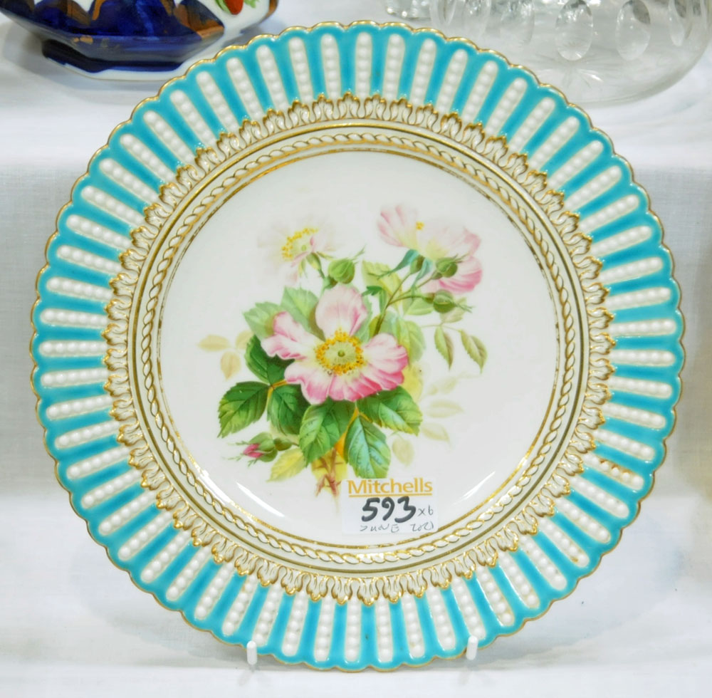 A collection of six 19th century hand painted cabinet plates, one bearing lozenge registration mark, - Image 6 of 15