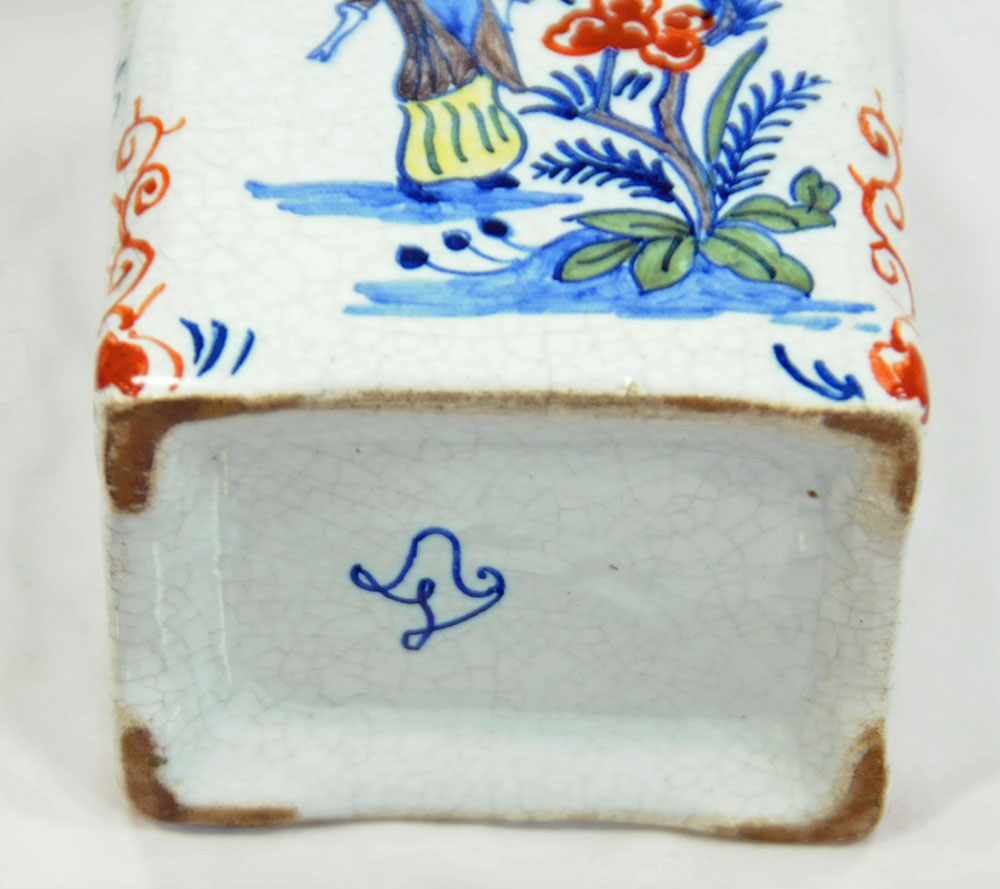 Two continental tea caddies, one porcelain, one Dutch Delft together with a small lidded wine flask. - Image 4 of 4
