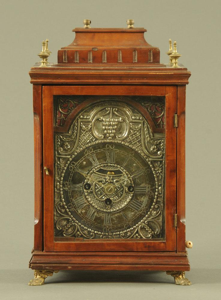 A 19th century walnut cased bracket clock,