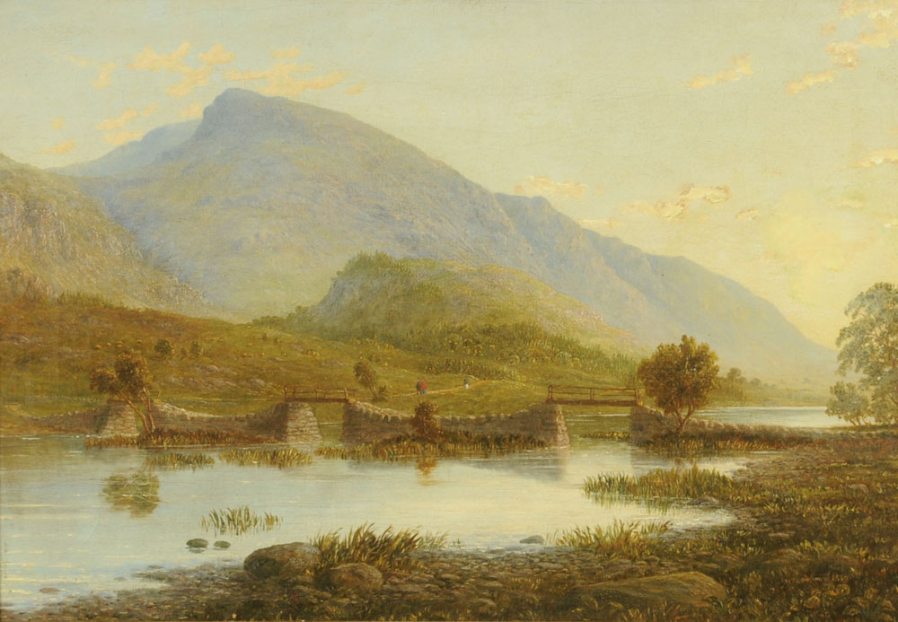 "William Taylor Longmire, oil on canvas ""The Footbridge Thirlmere Cumberland""."