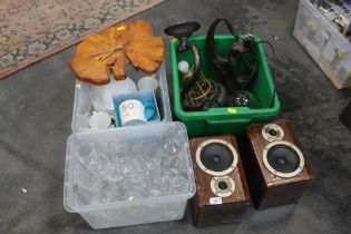 Pair of Sharp speakers, two boxes of glass ware, box of light fittings, Deco style figurine,
