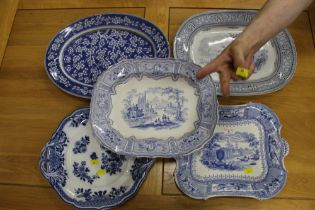 Collection of five Victorian transfer printed blue and white ashetts with various designs and