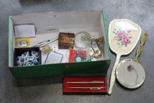 Pens, costume jewellery, badges,