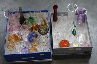 Two boxes of glassware, paperweights, glass animals,