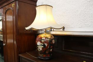 Large decorative table lamp and shade, height +/- 75 cm.