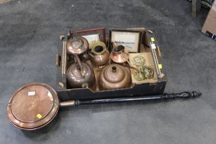 Bed warmer and box of brass and copper ware (kettles, jug, watering can, horse brasses).