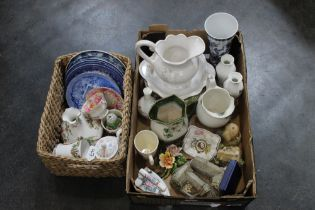 Two boxes of blue and white plates, jug and bowl, Aynsley vases, Lilliput Lane houses,