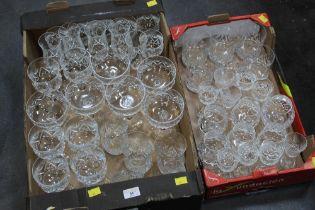 Two boxes of crystal glassware (Schott Zwiesel), wine glasses, sundae glasses, tumblers etc.