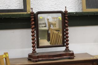 19th century mahogany dressing table mirror with twisted columns supporting the mirror, 65 cm high,