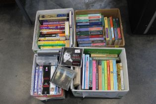 Four boxes of books and CDs, DVDs etc.