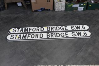 Two wooden imitation street signs, Stamford Bridge SW6, 130 cm long.