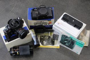 Yashica Winder FR1 35 mm camera, extra lens etc.