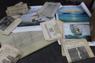 Collection of re printed newspapers and selection of prints Golden Hind, Evening Surf,