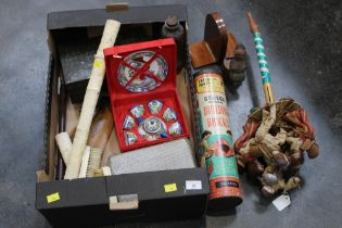 Box of ivory scabbard, brushes, vintage tin, games,