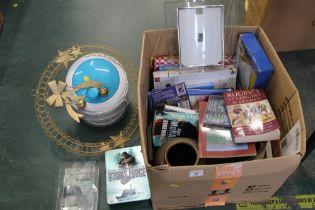 Box of kitchenware, books, DVD's, vases etc.