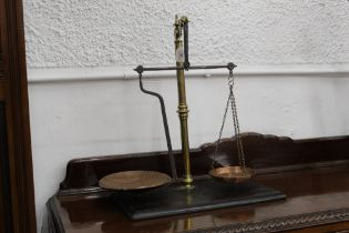 19th century set of balance scales with brass column support and copper weighing pans