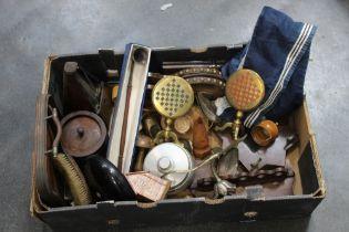 Bellows, metronome, brassware, money box etc.