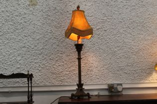 Gilt metal table lamp with shade,
