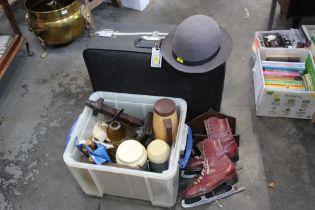 Suitcase, tub of flasks, lamp shade, skates,