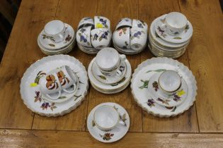 Royal Worcester Evesham pattern tea set and two flan dishes +/- 50 dishes