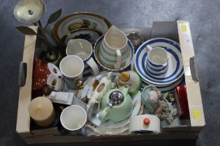 Box of china TG Green Cornish ware, decorative plates, ornaments,