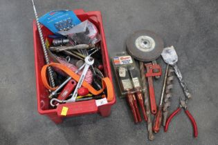 Small box of tools, grinding disks, paint brushes, screw drivers,