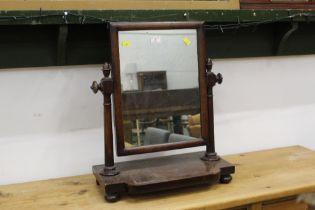19th century mahogany dressing table mirror, 59 cm high, 47 cm wide.